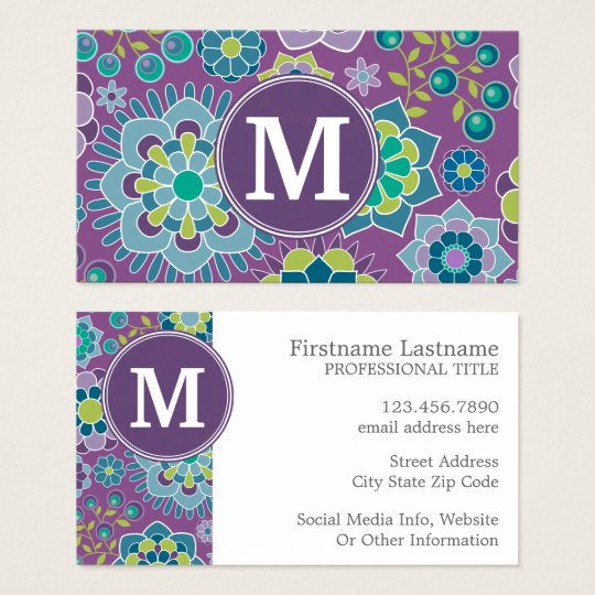 Funky Colourful Floral Pattern Custom Monogram Business Card