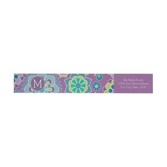 Funky Colourful Floral Pattern Custom Monogram Wraparound Return Address Label
