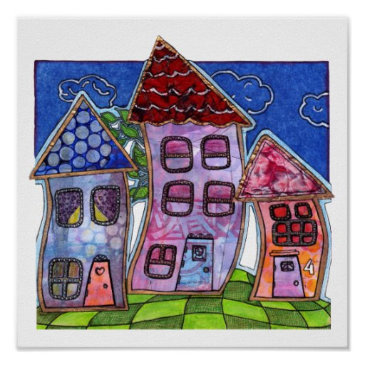 Funky Colourful Houses Poster