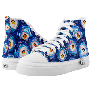 Funky colourful watercolor swirl pattern high top printed shoes
