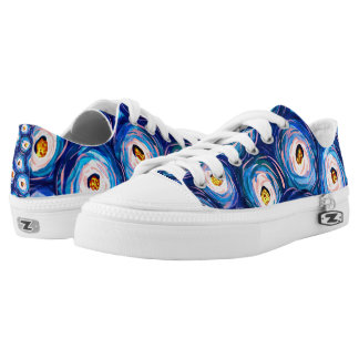 Funky colourful watercolor swirl pattern low tops printed shoes