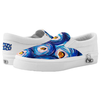 Funky colourful watercolor swirl slip-on shoes