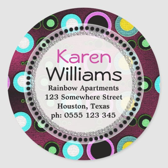 Funky Colours Polka Dots Return Address Round Classic Round Sticker
