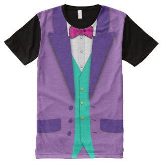Funky Colours Tuxedo Bowtie and Vest All-Over Print T-Shirt