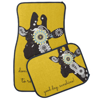 Funky Cool Giraffe Animal Quote Funny Yellow Car Mat