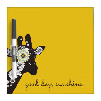 Funky Cool Giraffe Animal Quote Funny Yellow Dry Erase Board