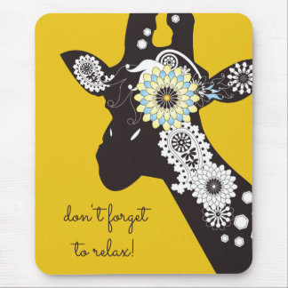 Funky Cool Giraffe Animal Quote Funny Yellow Mouse Mat