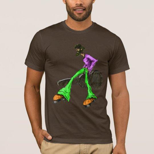 Funky Cool Guitar Disco Comic Character Green T-Shirt