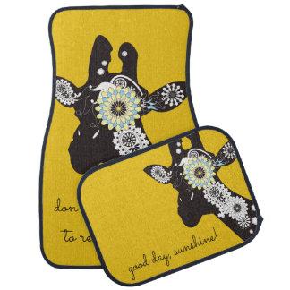 Funky Cool Paisley Giraffe Funny Animal Yellow Car Mat