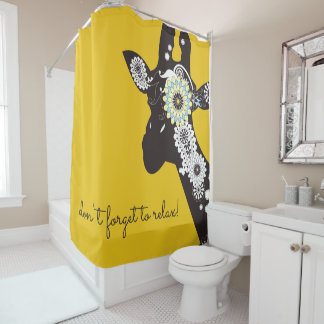 Funky Cool Paisley Giraffe Funny Animal Yellow Shower Curtain