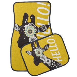 Funky Cool Paisley Giraffe Modern Yellow Car Mat