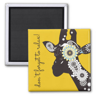 Funky Cool Paisley Giraffe Personalised Yellow Square Magnet