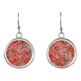 Funky Cool Pink Red Green Abstract Pattern Earrings