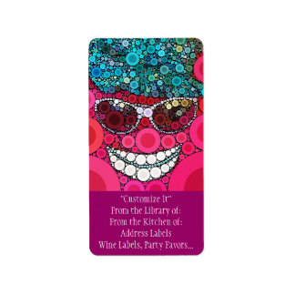 Funky Cool Smiling Face Sunglasses Hat Pink Blue Address Label