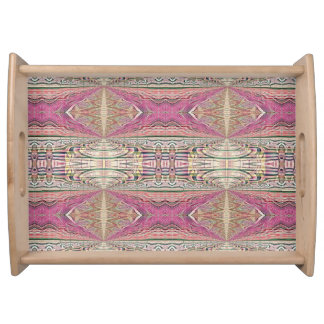 Funky Cool Tan Pink  FeminineTribal Pattern Serving Tray