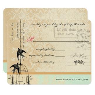 Funky Coral Damask Bird Cage Wedding RSVP 11 Cm X 14 Cm Invitation Card