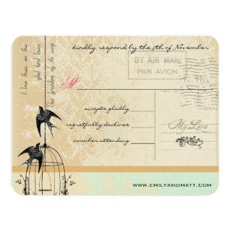 "Funky Coral Damask Bird Cage Wedding RSVP 4.25"" X 5.5"" Invitation Card"