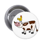 Funky Cow with Chicken on Her Head Cartoon Pinback Button