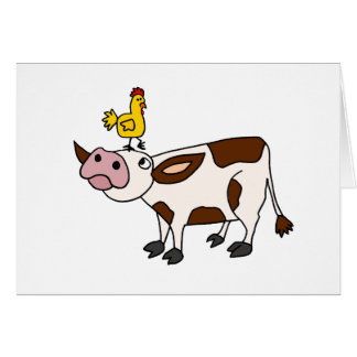 Funky Cow with Chicken on Her Head Cartoon Cards