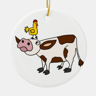 Funky Cow with Chicken on Her Head Cartoon Christmas Ornament