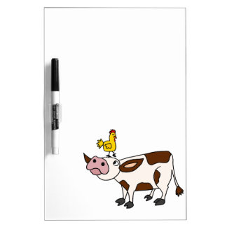 Funky Cow with Chicken on Her Head Cartoon Dry Erase Whiteboards