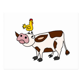 Funky Cow with Chicken on Her Head Cartoon Postcard