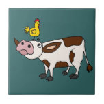 Funky Cow with Chicken on Her Head Cartoon Small Square Tile