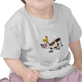 Funky Cow with Chicken on Her Head Cartoon Shirts