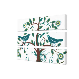Funky Cute Teal Vintage Love Birds Swirly Tree Gallery Wrap Canvas