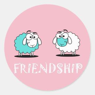 Funky Cute Two Sheep Friendship Sticker