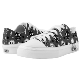 Funky Dark Skull Pattern Low Tops
