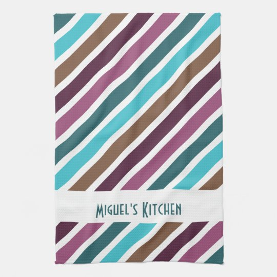 Funky Diagonal Stripes Personalised Hand Towels
