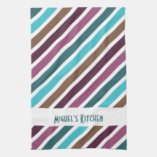 Funky Diagonal Stripes Personalized Hand Towels