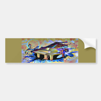 Funky Digitally Colored Piano Bumper Sticker