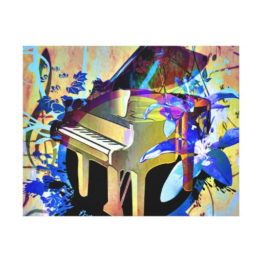 Funky Digitally Colored Piano Gallery Wrap Canvas