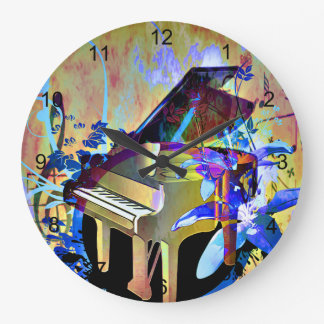 Funky Digitally Colored Piano Large Clock