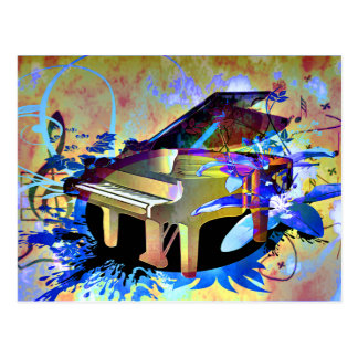 Funky Digitally Colored Piano Postcard