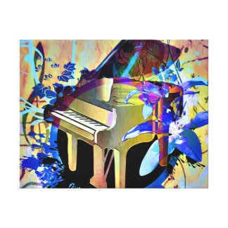 Funky Digitally Colored Piano Stretched Canvas Print