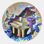 Funky Digitally Coloured Piano Classic Round Sticker