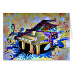 Funky Digitally Coloured Piano Greeting Card