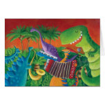 Funky Dinosaur Band Greeting Cards