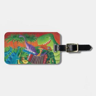 Funky Dinosaur Band Luggage Tag