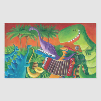 Funky Dinosaur Band Rectangular Sticker