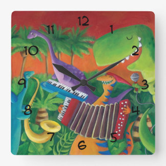 Funky Dinosaur Band Square Wall Clock