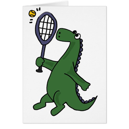Funky Dinosaur Playing Tennis Cartoon Card