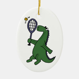 Funky Dinosaur Playing Tennis Cartoon Christmas Ornament