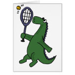Funky Dinosaur Playing Tennis Cartoon Greeting Card