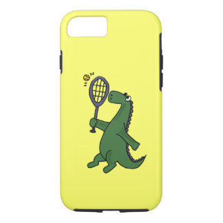 Funky Dinosaur Playing Tennis Cartoon iPhone 7 Case