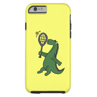 Funky Dinosaur Playing Tennis Cartoon Tough iPhone 6 Case