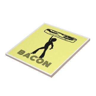 Funky Disco Bacon Small Square Tile
